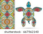 decorative turtle with ornament ... | Shutterstock .eps vector #667562140