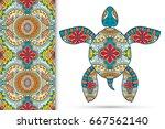 Decorative Turtle With Ornamen...