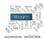 thoughts   image with words... | Shutterstock . vector #667567828