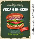 retro fast food vegan burger... | Shutterstock .eps vector #667569580