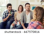 cheerful group of friends... | Shutterstock . vector #667570816