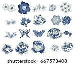 Stock vector flower set 667573408