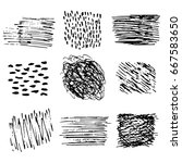 set of ink hand drawn textures... | Shutterstock .eps vector #667583650