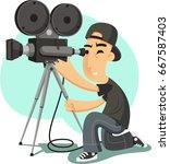vector cameraman filming vector ... | Shutterstock .eps vector #667587403