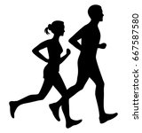 running man and woman black... | Shutterstock .eps vector #667587580