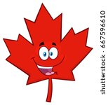 happy canadian red maple leaf... | Shutterstock .eps vector #667596610