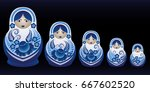 russian matrioshka in gzhel... | Shutterstock .eps vector #667602520