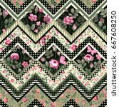 seamless decorative floral... | Shutterstock .eps vector #667608250