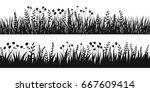 spring black grass silhouette... | Shutterstock .eps vector #667609414