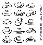 cowboy hat set. vector | Shutterstock .eps vector #667609834