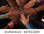 hands of happy group of african ...   Shutterstock . vector #667612264