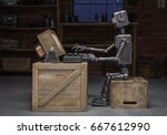 robot reading a book in the... | Shutterstock . vector #667612990