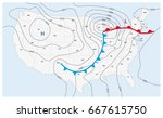 imaginary weather map of the... | Shutterstock .eps vector #667615750