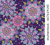 vector seamless pattern in boho ... | Shutterstock .eps vector #667619140