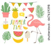 set of cute summer elements.... | Shutterstock .eps vector #667619398