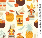 vector seamless tiki drinks... | Shutterstock .eps vector #667622449