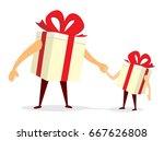 cartoon illustration of father... | Shutterstock .eps vector #667626808