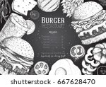 burgers and ingredients for... | Shutterstock .eps vector #667628470