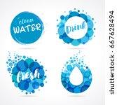 vector set of abstract aqua... | Shutterstock .eps vector #667628494