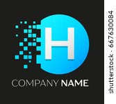 realistic letter h vector logo... | Shutterstock .eps vector #667630084