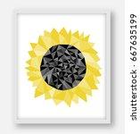 sunflower low polygonal vector... | Shutterstock .eps vector #667635199