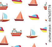 ships and boats   sea seamless... | Shutterstock .eps vector #667635778