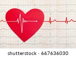 heart with electrocardiogram... | Shutterstock . vector #667636030