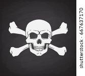 silhouette of skull jolly roger ... | Shutterstock .eps vector #667637170