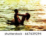 two young adult lovers standing ... | Shutterstock . vector #667639294