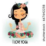 cute cartoon girl in yoga lotus ... | Shutterstock .eps vector #667642258