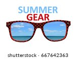 summer gear checkered... | Shutterstock . vector #667642363