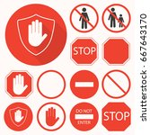stop signs set. stop hand ... | Shutterstock .eps vector #667643170