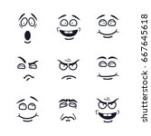 vector cartoon faces with... | Shutterstock .eps vector #667645618