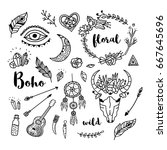 hand drawn doodle boho ethnic... | Shutterstock .eps vector #667645696
