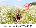 cute funny little girl with... | Shutterstock . vector #667664350