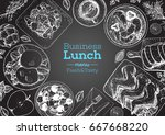 business lunch top view frame.... | Shutterstock .eps vector #667668220