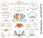 hand drawn rustic save the date ... | Shutterstock .eps vector #667674973