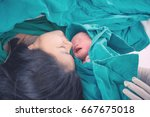 newborn baby with mother and... | Shutterstock . vector #667675018
