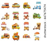 street food kiosk icons set.... | Shutterstock .eps vector #667675474