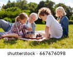 kind grandpa helping his... | Shutterstock . vector #667676098