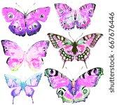 beautiful pink butterflies... | Shutterstock . vector #667676446