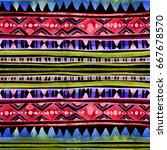 neon glowing tribal design.... | Shutterstock . vector #667678570