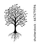 vector tree with roots.    Shutterstock .eps vector #667679596