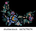 Stock vector embroidery folk neck line pattern with blue roses vector embroidered floral flowers for clothing 667679674