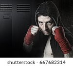 young man in boxing hoodie... | Shutterstock . vector #667682314