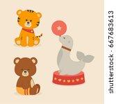 cute circus animals | Shutterstock .eps vector #667683613