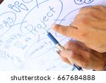 pointing hands with pen and... | Shutterstock . vector #667684888