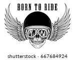 biker skull with goggles and... | Shutterstock .eps vector #667684924