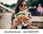tasty burger. stylish hipster... | Shutterstock . vector #667685494