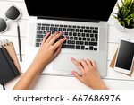 woman using modern white laptop ... | Shutterstock . vector #667686976